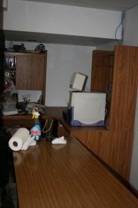 I've detached corner shelf and trying to pull back computer desk.