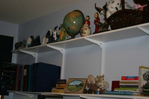 shelves above dresser